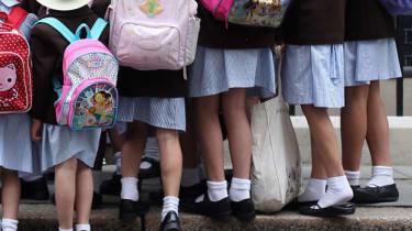 Schoolchildren in school uniform