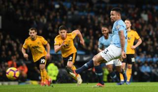 Manchester City striker Gabriel Jesus scored twice in the 3-0 victory against Wolves
