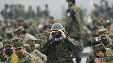 The Japanese Self Defence Force during live fire exercises