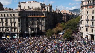 Thousands protest after Spanish police raid Catalan government offices in Barcelona last month