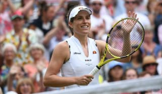 Britain's Johanna Konta celebrates her victory over Petra Kvitova at Wimbledon