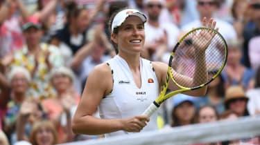 Britain's Johanna Konta celebrates her victory over Petra Kvitova at Wimbledon