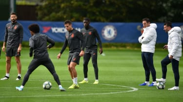 Chelsea head coach Frank Lampard oversees training ahead of the Lille match