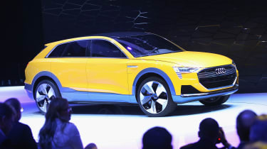 DETROIT, MI - JANUARY 11:Audi introduces the H-Tron Quatro concept at the North American International Auto Show on January 11, 2016 in Detroit, Michigan. The show is open to the public from