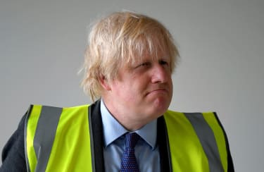 LONDON, ENGLAND - JUNE 29: Britain's Prime Minister, Boris Johnson visits a science room under construction at Ealing Fields High School on June 29, 2020 in west London, England. The Prime Mi
