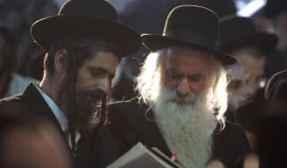 Ultra orthodox Jews pray at the tomb of Reb Nachman of Breslov, founder of the Breslov Hasidic movement