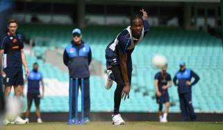 England bowler Jofra Archer takes part in a net session