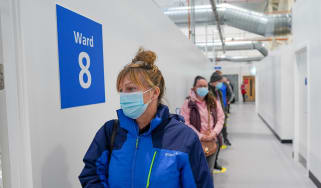 Patients at the NHS Nightingale North East wait to receive their Covid vaccinations