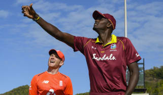 Twenty20 captains Jason Holder of the West Indies and Eoin Morgan of England