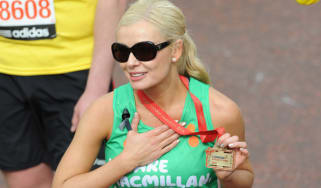 LONDON, UNITED KINGDOM - APRIL 21: Katherine Jenkins finishes the 2013 Virgin London Marathon on April 21, 2013 in London, England. (Photo by Stuart C. Wilson/Getty Images)