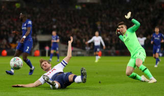 Tottenham striker Harry Kane was brought down by Chelsea goalkeeper Kepa Arrizabalaga
