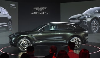 Aston Martin's DBX SUV is seen at its world premiere in Beijing on November 20, 2019. - Aston Martin launched its first ever SUV in the Chinese capital on November 20. (Photo by GREG BAKER /