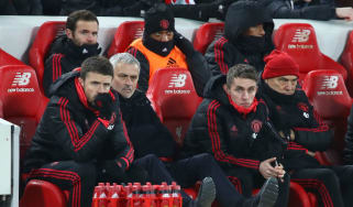 Manchester United manager Jose Mourinho watches on as his side lost against Liverpool at Anfield