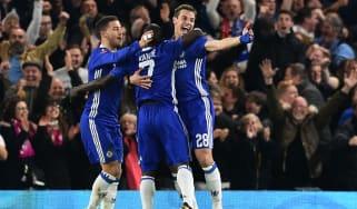Eden Hazard, N'Golo Kante and Cesar Azpilicueta of Chelsea
