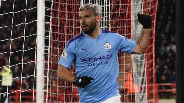 Sergio Aguero scored Manchester City's winning goal at Sheffield United