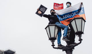 Pro-Navalny protestors during a demonstration in Moscow