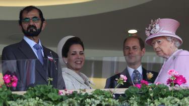 Sheikh Mohammed bin Rashid al-Maktoum greets the Queen at Royal Ascot in 2016