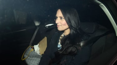 Priti Patel leaves Downing Street after being forced to resign