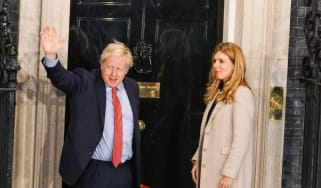 Boris Johnson and Carrie Symonds in Downing Street after the election victory