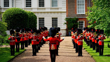 The Band of the Coldstream Guards in the gardens of Clarence House
