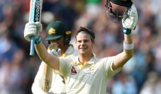 Australia's Steve Smith celebrates his century against England at Edgbaston