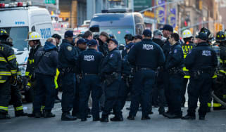 NYPD and other first responders near the New York Port Authority Bus Terminal