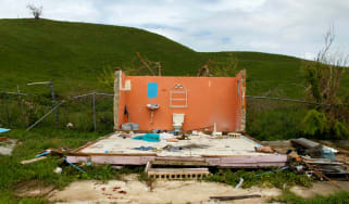 Wreckage of a house destroyed by Hurricane Maria in Naguabo, on the east coast of Puerto Rico
