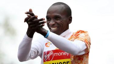 Kenyan athlete Eliud Kipchoge celebrates his victory in the men's elite race at the 2019 London Marathon