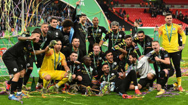 Manchester City celebrate their victory over Aston Villa in the Carabao Cup final