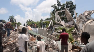 Collapsed buildings and survivors