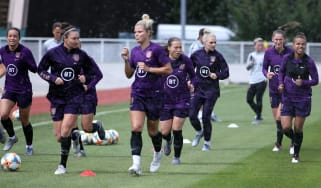 England players train ahead of the Fifa Women's World Cup group D game against Argentina