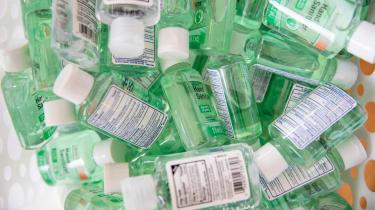 Bottles of hand sanitiser