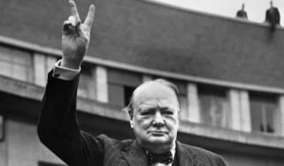 Sir Winston Churchill making the victory sign.