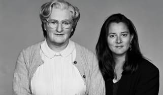 Robin Williams as Mrs Doubtfire, with Marsha Garces