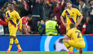 Barcelona players react after Inaki Williams's winner for Athletic Bilbao