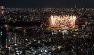 Fireworks light up the sky over the Olympic Stadium in Tokyo