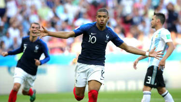 Kylian Mbappe celebrates a goal for France at the 2018 Fifa World Cup