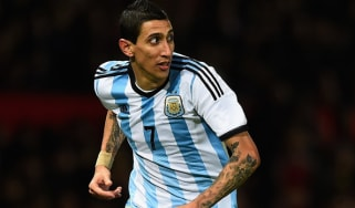 Angel di Maria of Argentina in action during the International Friendly match between Argentina and Portugal