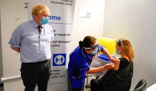 Boris Johnson at vaccine clinic