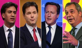 Ed Miliband, Nick Clegg, David Cameron, Nigel Farage, party leaders