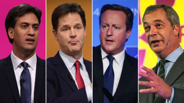 Ed Miliband, Nick Clegg, David Cameron, Nigel Farage, party leaders