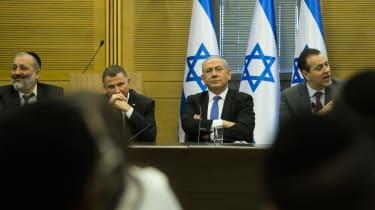 JERUSALEM, ISRAEL - NOVEMBER 20:Israeli Prime Minister Benjamin Netanyahu seen at a right wing parties meeting on November 20, 2019 in Jerusalem, Israel.Israel may face third election after B