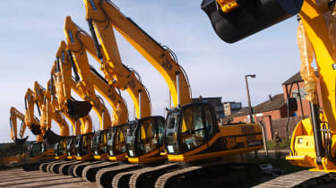UNITED KINGDOM - OCTOBER 29:JCB earth movers parked at one of the JC Bamford Excavators Ltd. plants in Uttoxeter, U.K., on Wednesday Oct. 29, 2008. Workers at JCB, a closely held U.K. manufac
