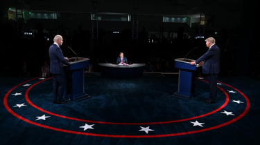 Trump and Biden on stage during the first presidential debate