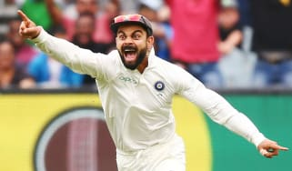 India captain Virat Kohli celebrates an Australian wicket in the December 2018 Test series
