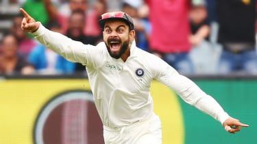 India captain Virat Kohli celebrates an Australian wicket in the December 2018 Test series