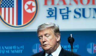 US President Donald Trump attends a press conference following the second US-North Korea summit in Hanoi on February 28, 2019. - The nuclear summit between US President Donald Trump and Kim J