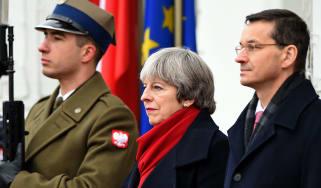 Theresa May and her Polish counterpart Mateusz Morawiecki
