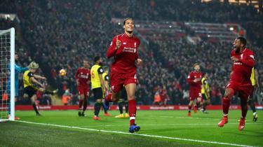 Virgil van Dijk scored twice as Liverpool beat Watford 5-0 at Anfield