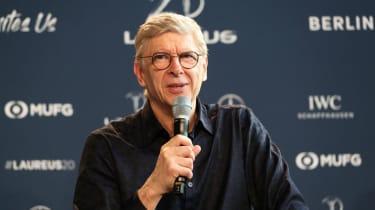 Former Arsenal manager Arsene Wenger speaks at the Laureus World Sports Awards